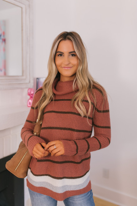 Turtleneck Striped Sweater - Rust/Brown
