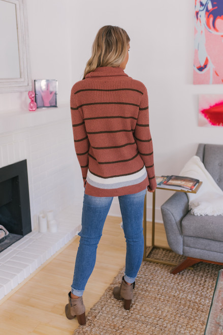 Turtleneck Striped Sweater - Rust/Brown - FINAL SALE
