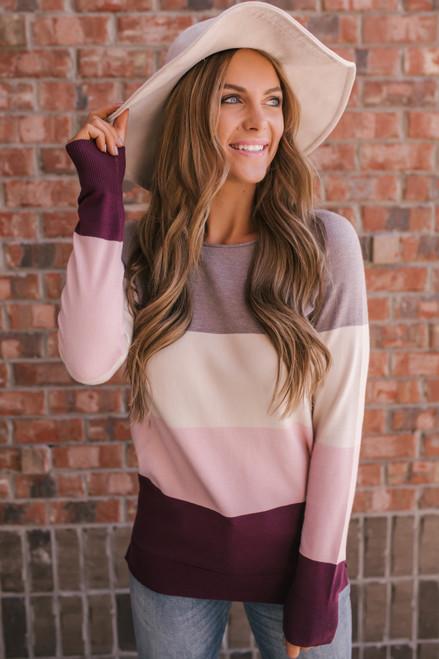 Harper Colorblock Sweater - Mocha/Ivory/Blush/Maroon