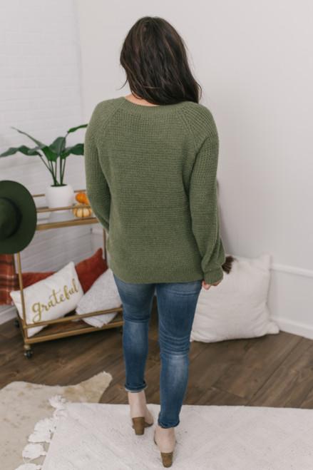 Crew Neck Fuzzy Waffle Sweater - Olive