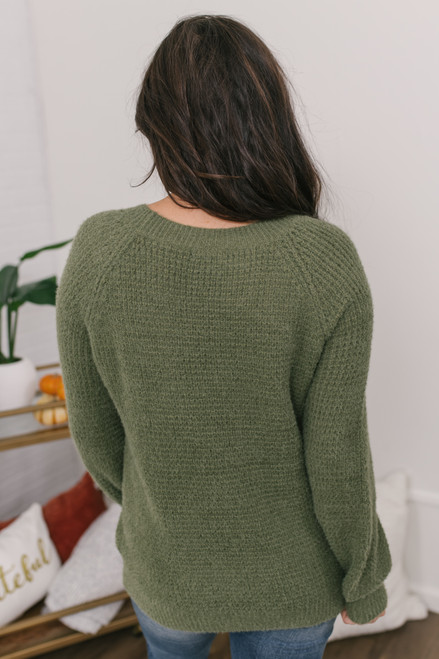 Crew Neck Fuzzy Waffle Sweater - Olive - FINAL SALE