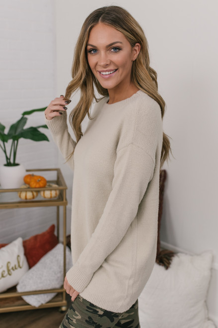 Campfire Cuddles Cozy Sweater - Beige - FINAL SALE