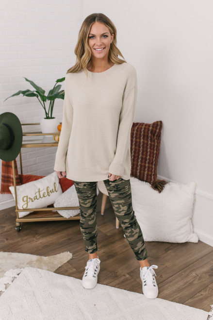 Campfire Cuddles Cozy Sweater - Beige