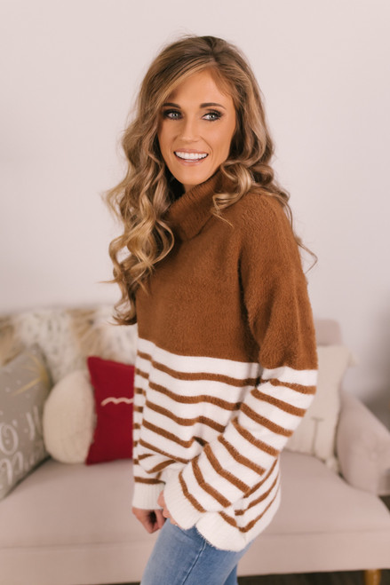 Striped Fuzzy Turtleneck Sweater - Copper/Ivory