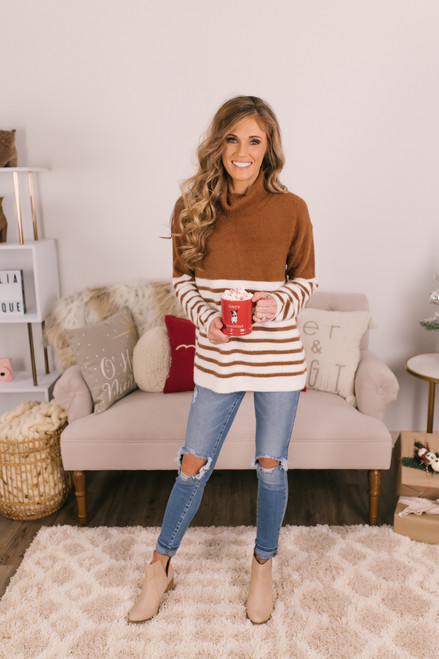 Striped Fuzzy Turtleneck Sweater - Copper/Ivory