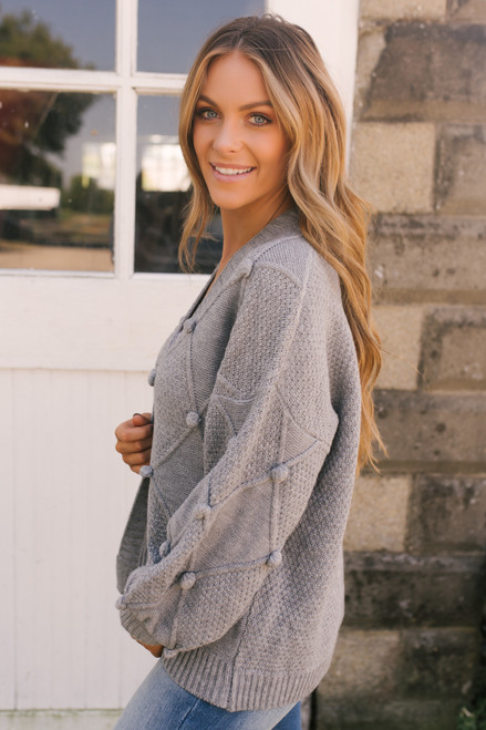 Pom Pom Argyle Cardigan - Grey - FINAL SALE