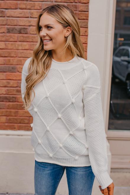 Pom Pom Argyle Sweater - Ivory