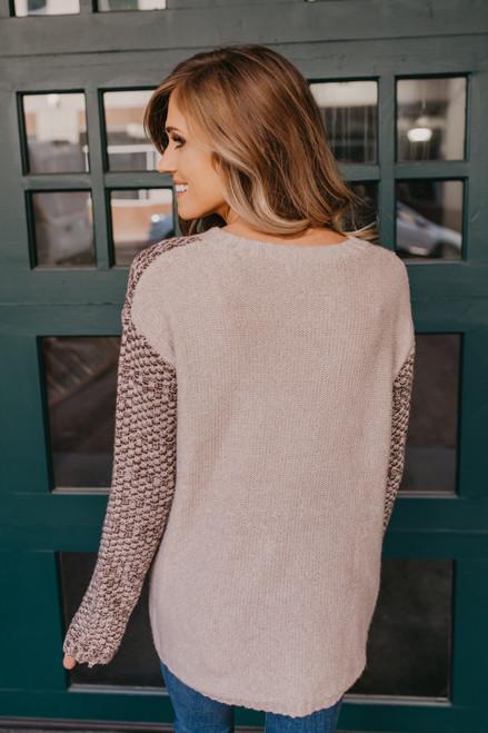 Colorblock Basket Weave Sweater - Brown/Beige