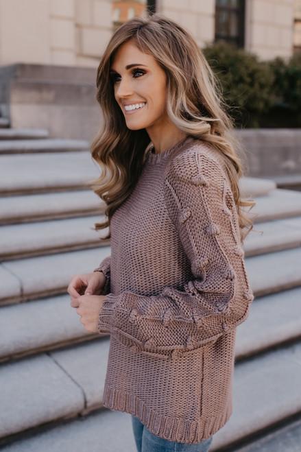 Pom Pom Sleeve Sweater - Mocha