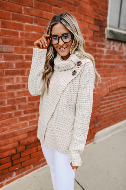Asymmetrical Button Waffle Sweater - Oatmeal