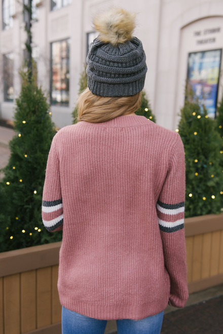 Chevron Colorblock Sweater - Mauve Multi