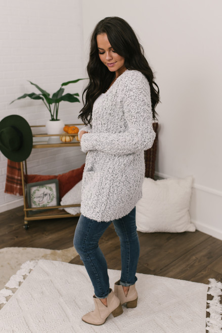 Two Tone Pocket Popcorn Cardigan - White/Grey