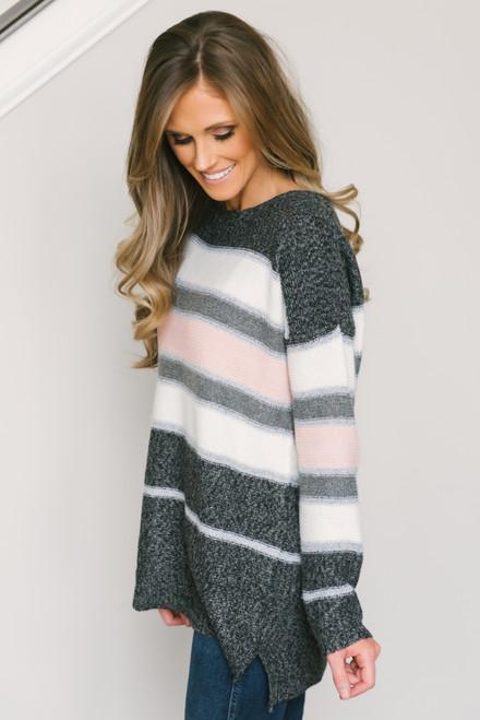 Daylight Striped Sweater - Charcoal/White/Blush
