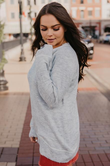 Contrast Stitch Distressed Sweater - Heather Grey