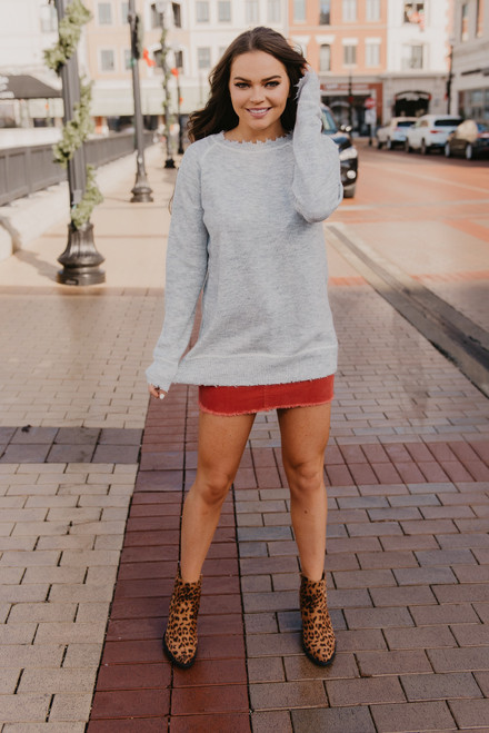 Contrast Stitch Distressed Sweater - Heather Grey