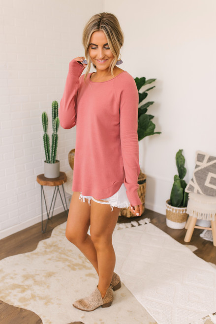 Lightweight Boatneck Soft Sweater - Dusty Rose