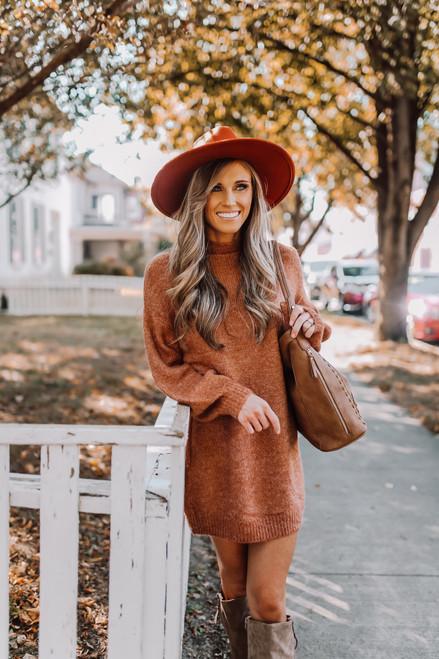 Mock Neck Sweater Dress - Rust