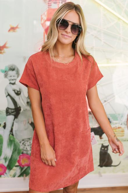 Corduroy Pocket Shift Dress - Rust - FINAL SALE