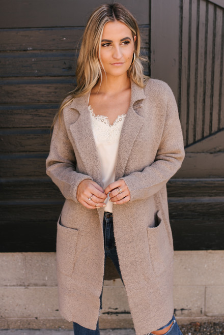 Thick Knit Pocket Cardigan - Heather Latte