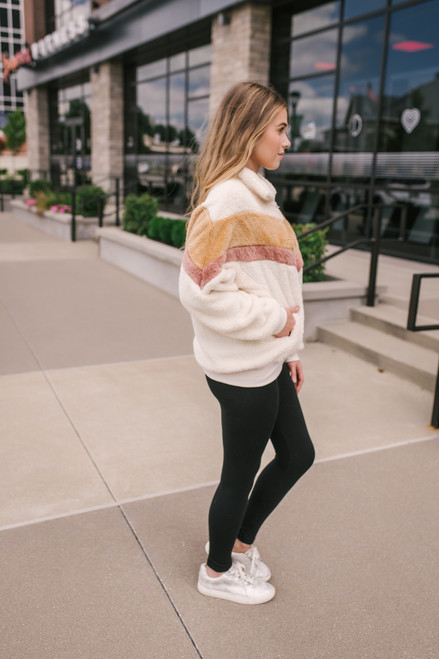 Chevron Colorblock Half Zip Pullover - Cream
