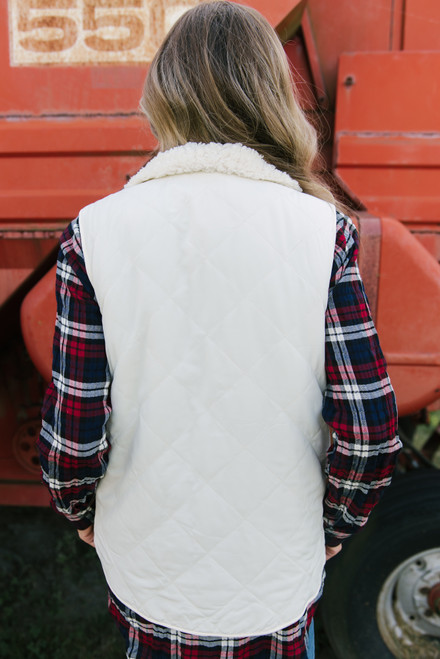 Quilted Sherpa Reversible Vest - Cream - FINAL SALE