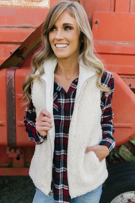 Quilted Sherpa Reversible Vest - Cream