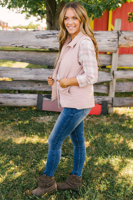 Quilted Sherpa Reversible Vest - Mauve