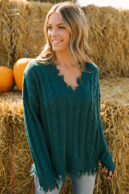 V-Neck Distressed Cable Sweater - Hunter Green