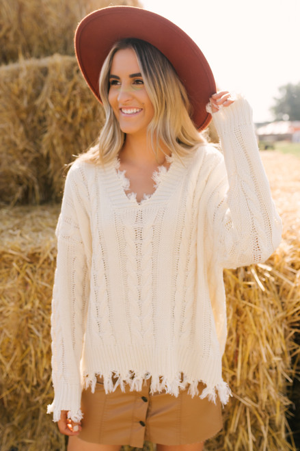 V-Neck Distressed Cable Sweater - Natural - FINAL SALE