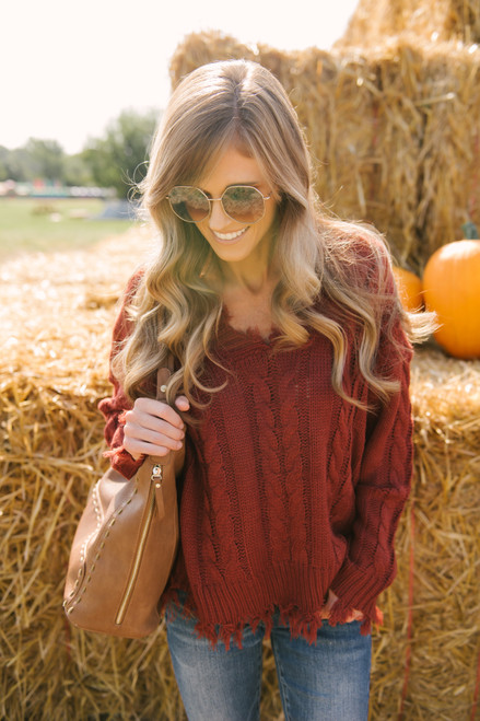 V-Neck Distressed Cable Sweater - Rust - FINAL SALE