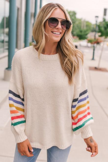 Rainbow Stripe Sweater - Cream