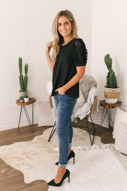Ruffle Sleeve Lace Top - Black