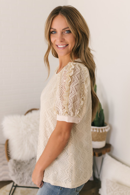 Ruffle Sleeve Lace Top - Taupe