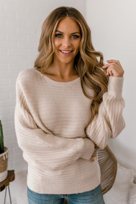 Ribbed Knit Dolman Sweater - Natural