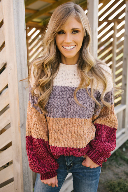Colorblock Chenille Sweater - Ivory/Grey/Camel/Burgundy - FINAL SALE