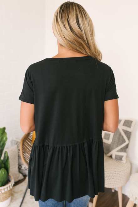 Short Sleeve Knit Peplum Top - Black - FINAL SALE