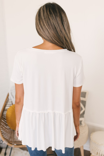 Short Sleeve Knit Peplum Top - Ivory - FINAL SALE