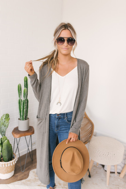 Soft Brushed Duster Pocket Cardigan - Olive