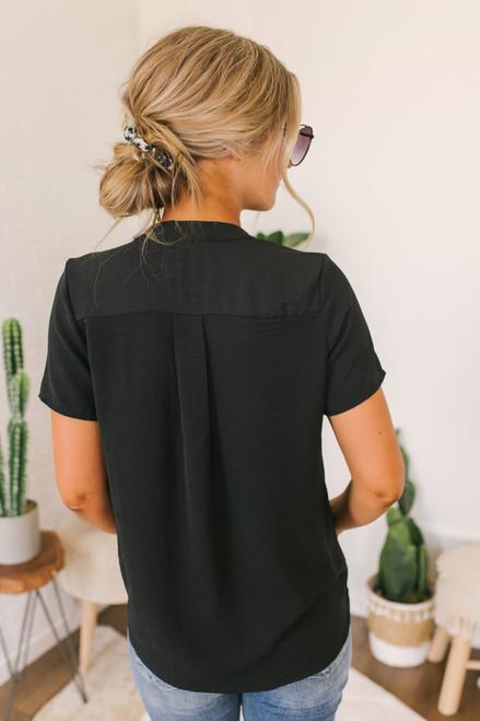 Short Sleeve V-Neck Gathered Detail Top - Black