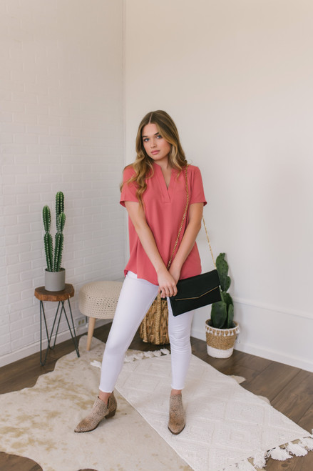 Short Sleeve V-Neck Gathered Detail Top - Salmon- FINAL SALE