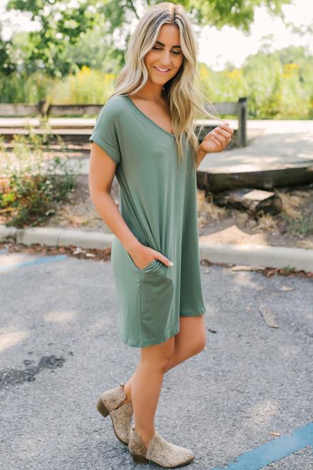 V-Neck Cuffed Sleeve T-Shirt Dress - Army - FINAL SALE