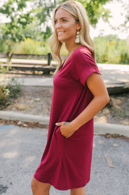 V-Neck Cuffed Sleeve T-Shirt Dress - Wine