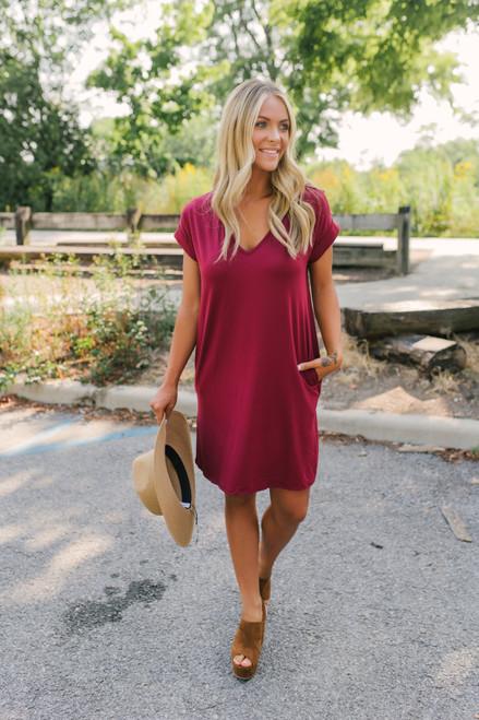 V-Neck Cuffed Sleeve T-Shirt Dress - Wine  - FINAL SALE