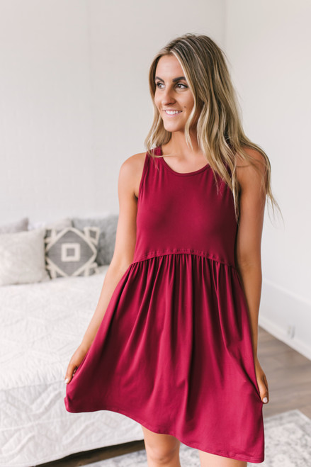 Tropical Waves Babydoll Dress - Burgundy  - FINAL SALE