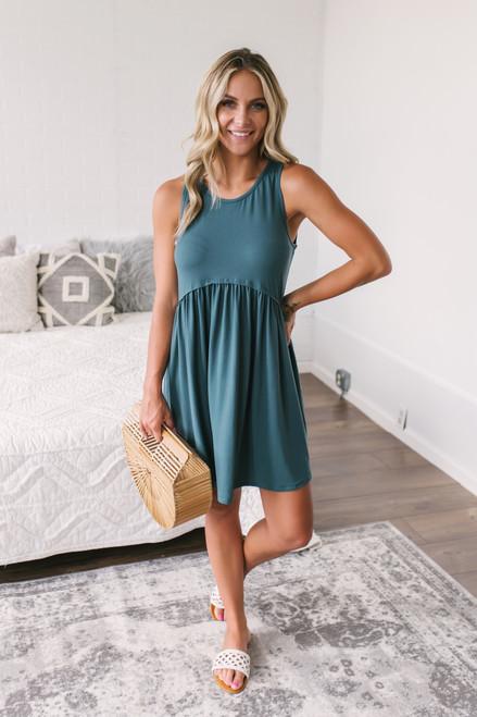 Tropical Waves Babydoll Dress - Hunter Green