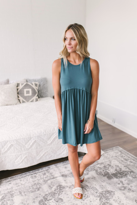 Tropical Waves Babydoll Dress - Hunter Green  - FINAL SALE