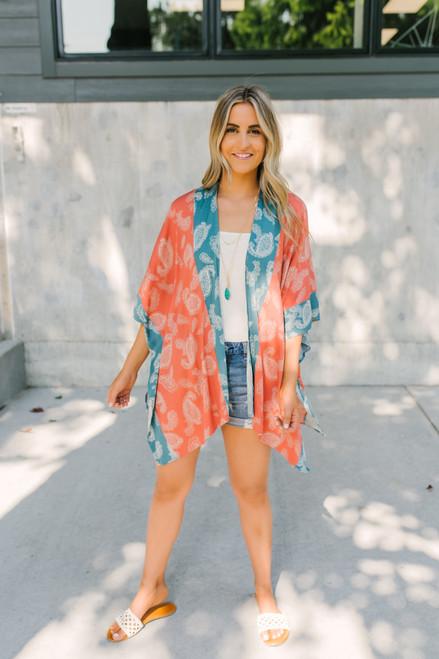 Colorblock Paisley Kimono - Rust/Teal- FINAL SALE