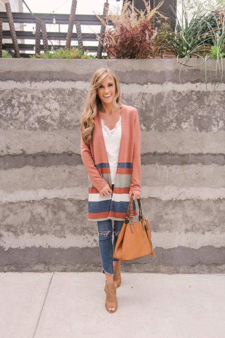 Soft Brushed Colorblock Cardigan - Rust Multi  - FINAL SALE