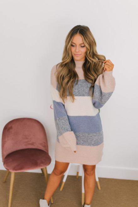 Mock Neck Colorblock Sweater Dress - Blush Multi
