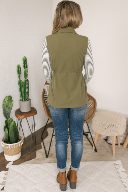 Valley Ridge Drawstring Cargo Vest - Olive - FINAL SALE